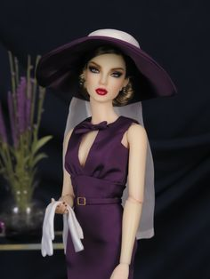 THE STUDIO COMMISSARY: FOR SALE: Purple Reign, a Lovely Dress of Deepest Purple from Brenda @ Matisse Fashions >>> Barbie Clothes, Barbie Dolls, Below The Knee Dresses, Purple Reign, Barbie Friends, Lovely Dresses, Beautiful Dolls, Fashion Dolls, Love Fashion