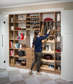 Organize every area of your home with do-it-yourself custom closet and home organization systems from EasyClosets. Pantry Makeover, Basement Makeover, Pantry Closet, Walk In Pantry, Kitchen Storage, Storage Spaces, Custom Pantry, Kitchen Dinning Room, Builder Grade