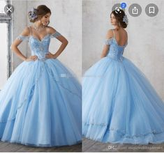 2018 Light Sky Blue Ball Gown Quinceanera Dresses Cap Sleeves Spaghetti Beading Crystal Princess Prom Party Dresses For Sweet 16 Girls Give yourself the best gift for your adult ceremony light sky blue ball gown quinceanera dresses cap sleeves spaghe Baby Blue Dresses, Blue Ball Gowns, Quince Dresses, Sweet 16 Dresses, Ball Gown Dresses, Sweet Dress, Prom Party Dresses, 15 Dresses, Cute Dresses