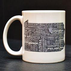 PENNSYLVANIA Coffee Mug - Unique Art Tea Cup. $15.00, via Etsy.