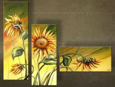 Ručně malovaný obraz KVĚTINY 3 dílný 3099FA