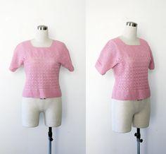 1960s vintage pink crochet knit crop top s, m
