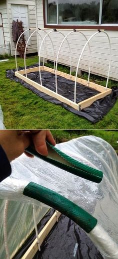 Here is another small tip how to reuse pieces of an old garden hose to help attach the plastic to the rounded PVC pipes that create the frame work for the hoop house.: