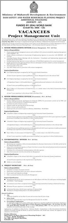 Sri Lankan Government Job Vacancies at Ministry of Mahaweli Development & Environment for Senior Programming Officer, Environmental Officer, Project Secretary