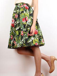 High Waisted Tropical Skirt