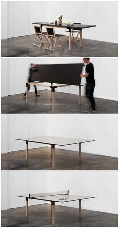 From a 8 people dining table to a full size ping-pong table! Brings more entertainment into your home!   By @mwaeu  | Design Julien de Smedt