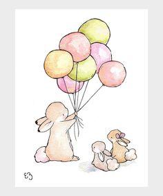 LoxlyHollow Vintage Balloon for Bunny Print