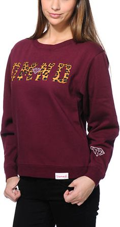 Diamond Supply Co Girls DMND Leopard Dark Red Crew Neck Sweatshirt at Zumiez : PDP