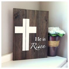 "Handmade Wood Cross ""He is Risen"" Painted Sign Pallet Crafts, Pallet Art, Wood Crafts, Pallet Signs, Diy Crafts, Rustic Wood Signs, Rustic Decor, Spring Crafts, Holiday Crafts"