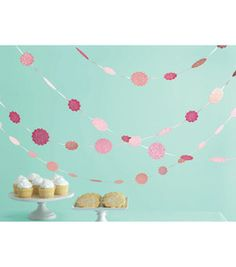 coral/pink mix 20 foot glitter dot chip board garland! 7.49