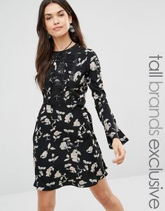 Buy it now. Glamorous Tall Skater Dress With Fluted Sleeve In Floral Print - Black. Tall dress by Glamorous Tall, Woven fabric, Crew neckline, Embroidered lace detailing, Fluted sleeves, Fit and flare style, Regular fit - true to size, Hand wash, 100% Polyester, Our model wears a UK XS/EU 36/US 4 and is 180cm/5'11� tall, Exclusive to ASOS. ABOUT GLAMOROUS TALL Glamorous pulls together an eclectic mix of vintage influences and brand new trends. Glamorous Tall brings us the same fashion-led…