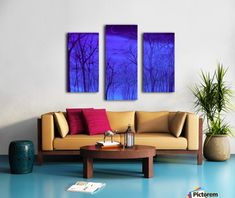 Triptych, 3 split, stretched, canvas, multi panel, prints, , painting, forest,scene,woods,landscape,nature,trees,winter,night,nocturnal,sky,forestscape,nightscape,moonlight,stars,vision,tranquil,peaceful,serene,moody,nostalgic,romantic,poetic,melancholic,purple,lavender,blue,shades,vivid,colors,monochromatic,decor,beautiful,unique,fantasylike,cool,realism,realistic,of,in,at,a,by,the,fine,art,oil,images,artworks,decor,artistic,items,products,for sale,pictorem,autumn forest