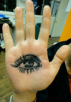 Eyeball tattoo on the palm of a hand. Could be a really creepy way to wave to people~