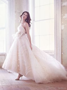 jim hjelm bridal spring 2013 embroidered tulle strapless gown sweetheart high low