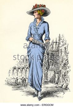 Scottish women 's fashion:  1912 - 1913 . Illustration with Abbey of Holyrood in background.  C. 1936. - Stock Image