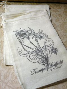 Vintage Daffodil Hand Stamped Gift Bags     Cotton by aunaturelle, $7.50