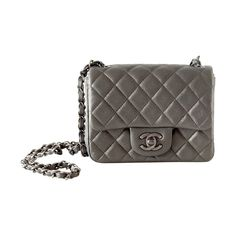 CHANEL bag MINI metallic charcoal gray goatskin antiqued hardware NWT | From a collection of rare vintage shoulder bags at https://www.1stdibs.com/fashion/handbags-purses-bags/shoulder-bags/