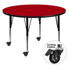 Flash Furniture Mobile 48 diam. in. Round Activity Table with Adjustable Preschool Legs - XU-A48-RND-RED-T-P-CAS-GG