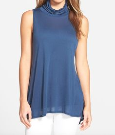 Summer Fashion - Slouchy Turtleneck Knit Tank:  Wouldn't this look great through Indian Summer?