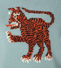 GUCCI Tiger-embroidered knitted jumper