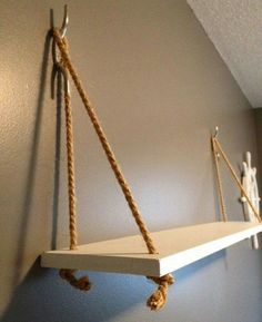 Handmade Home Decor Similar Items Like Nautical Beach House Wal Theme Nursery Hanging Shelf … Easy Home Decor, Handmade Home Decor, Diy Hanging Shelves, Floating Shelves, Floating Drawer, Ceiling Hanging, Diy Casa, Nautical Home, Nautical Nursery