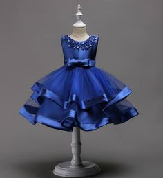 Girly Shop's Royal Blue Beautiful & Cheap Round Neckline Sleeveless Knee Length Tiered Layered Infant Toddler Little & Big Girl Party Dress