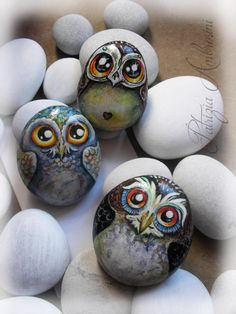 Eule N.36 handbemalt Felszeichnungen malte von thestoneteller Painting Tips, Rock Painting, Painted Rocks, Hand Painted, Owl Art, Cute Owl, Acrylic Colors, Crafty, Colouring