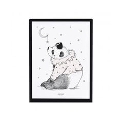 Panda Print with frame ($32) ❤ liked on Polyvore featuring home, home decor, black white home decor, star home decor and black and white home decor