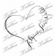 Heart shape comprised of three names | heart with names #74257 | CreateMyTattoo.com