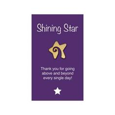 """Shining Star Lapel Pin on """"Shining Star"""" Appreciation Card.  From Promotions Now."""