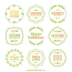 Colección de logos vintage veganos dibujados a mano  Vector Gratis
