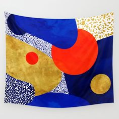 Terrazzo Galaxy Blue Night Yellow Gold Orange Wall Hanging Tapestry by Sylvain Combe - Small: x Blue Tapestry, Tapestry Bedroom, Tapestry Wall Hanging, Wall Hangings, Orange Art, Orange Walls, Blue Art, Society 6 Tapestry, Cool Walls