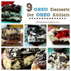 """Here's 9 OREO Desserts for OREO Addicts!  Pleasurable, delicious dark chocolatewafers with sweet creamy filling inside, outside, on top and on bottom of 9 dessert ideas, picked just for because you love Oreo in pretty much every thing! A true OREO lover's dream come true! Enjoy!  Oreo Chocolate Ganache Cheesecake Holiday Oreo Cream Cheese Cookies """"Chocoholic"""" Hot Fudge Oreo Chocolate Poke Cake OREO Cheesecake No Bake Bars :) Reese's Peanut Butter Chocolate Oreo Tart Oreo Cookies 'n'…"""