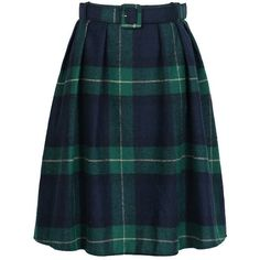Choies Women's Woolen Green Plaid Belt Waist Casual Pleated Skirt at... ($19) ❤ liked on Polyvore featuring skirts, blue skirt, knee length pleated skirt, blue wool skirt, wool pleated skirt and woolen skirts