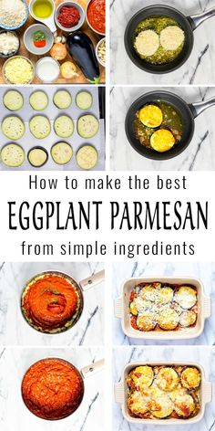Seriously the most delicious Eggplant Parmesan you've ever made. It is all about my shortcut method which will save you a good amount of time. The result will be crispy and creamy and no one would ever taste it is even vegan. Foolproof with step by step pictures for your family. #vegan #dairyfree #vegetarian #dinner #lunch #contentednesscooking #mealprep #eggplantparmesan #freezermeals