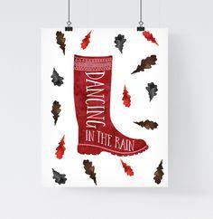 autumn in DaWanda Art Print 'Dancing in the rain' A4 Poster from Paperblooming by DaWanda.com