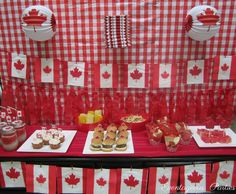 Katrina L's Canada Day / Red & White - Canada Day Party at Catch My Party Canada Day Party, Canada Day 150, Happy Canada Day, Canadian Party, Canadian Food, Canada Day Fireworks, Leaving Party, All About Canada, Cake Templates