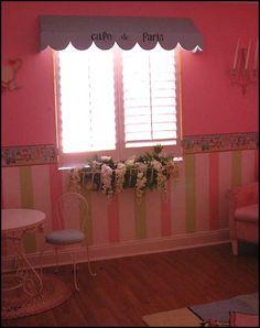 Little girls French poodle inspired bedroom. Paris cafe bedroom