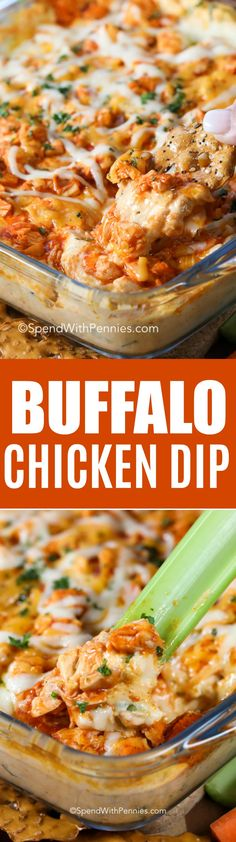 Tender chunks of chicken in buffalo sauce are combined with a creamy cream cheese base and of course loads of cheese.  It's all baked until golden and bubbly!