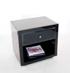 Farrah Black Glass Nightstand by Worlds Away.  Free shipping.