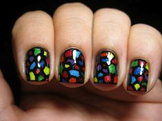 Polish Etc: Day 9 - Stained Glass Nail Art