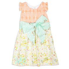 Girls Coral Geo Multi Color Bird Ava Dress