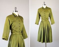 Vintage 1940s Day Dress /  1940s Full Pleat Skirt by bloombird, $84.00