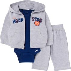 This warm and cozy Gerber Boys 3-Piece hooded hoopster grey jacket and navy bodysuit with grey pant is perfect for fall weather! Available in sizes NB - 24m #fallfashion #gerberchildrenswear