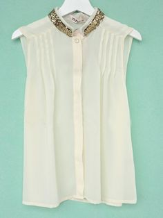 Beige High Neck Sleeveless Single Breasted Pleated Shirt
