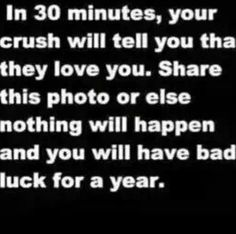 These always get me. ( oh no I'll have bad luck I'm going to die.) Plus today is my bf and I 1 month. So..... cool.