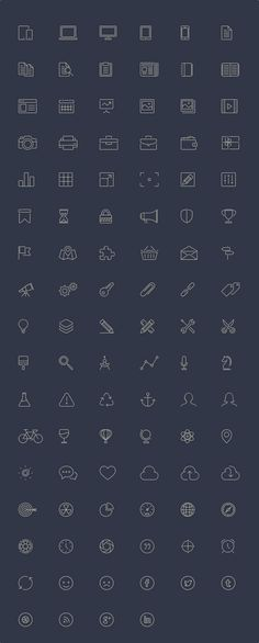 100 Free Line-Style Icons. The download package includes the vectored .AI and .SVG files, as well as 32px and 64px .PNGs.