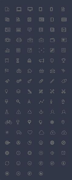 100 Free Line-Style Icons #icon #icons #freebie #ui #ux #uidesign