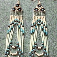 Vibrant glass seed beads arranged in rainbow order create a striking look sure to get attention! The details: These are Native American made Beaded Earrings, Beaded Bracelets, Native American Beading, Beading Patterns, Wire Jewelry, Beadwork, Quilling, Seed Beads, Nativity