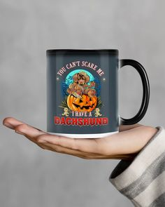 YOU CANT SCARE ME I HAVE A Dachshund Mugs - Charcoal Grey miniature dachshund, weiner dog puppies dachshund, mini dachshund full grown #dachshundspuppy #dachshundproblems #dachshundfoinstagram I Am Scared, Funny Dachshund Pictures, Mugs, Dogs And Puppies, Charcoal, Miniatures, Navy, Hale Navy, Mug